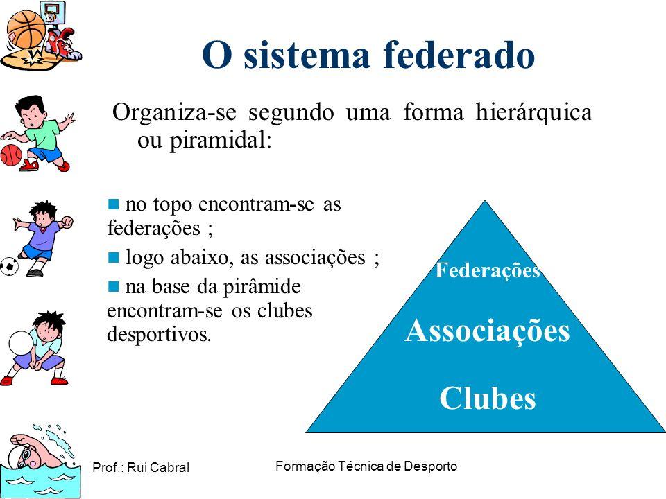 Prof.: Rui Cabral Formação Técnica de Desporto O sistema federado Organiza-se segundo uma forma hierárquica ou piramidal: Federações Associações Clube