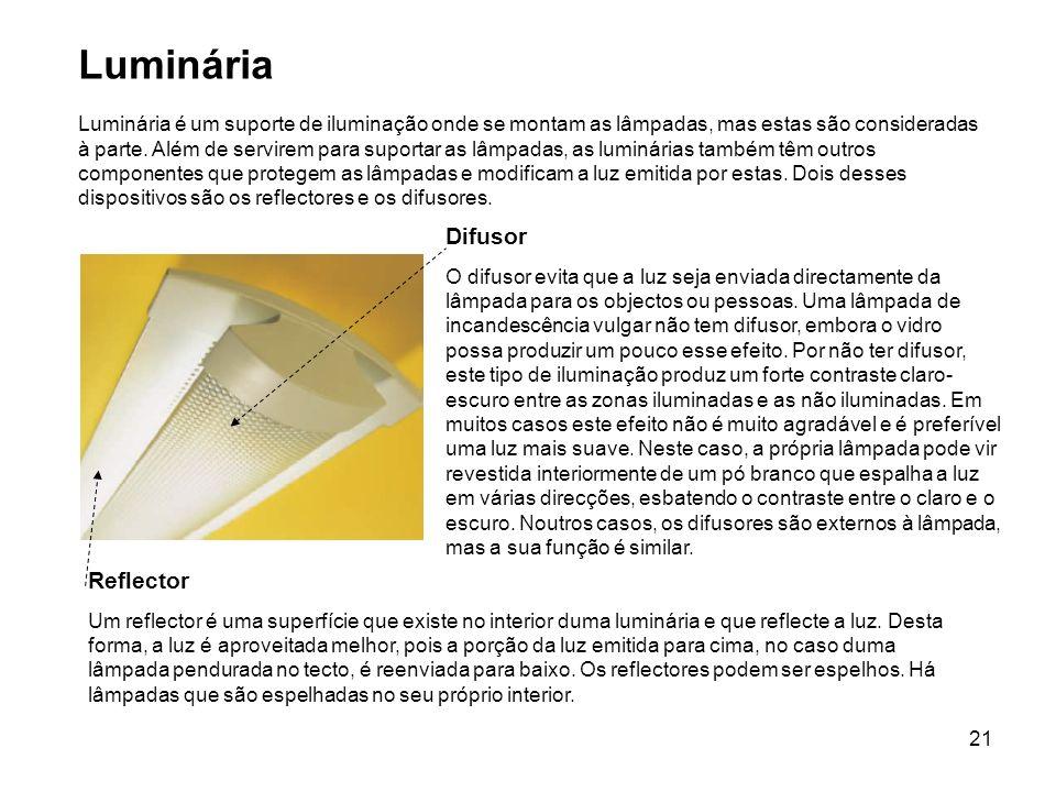 21 Reflector Um reflector é uma superfície que existe no interior duma luminária e que reflecte a luz. Desta forma, a luz é aproveitada melhor, pois a