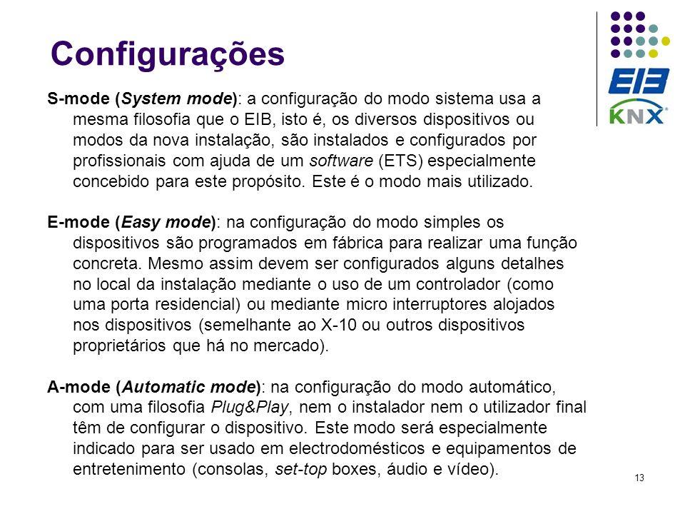 13 Configurações S-mode (System mode): a configuração do modo sistema usa a mesma filosofia que o EIB, isto é, os diversos dispositivos ou modos da no