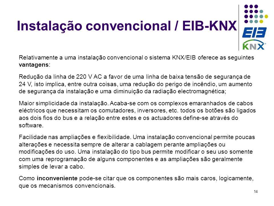 14 Instalação convencional / EIB-KNX Relativamente a uma instalação convencional o sistema KNX/EIB oferece as seguintes vantagens: Redução da linha de