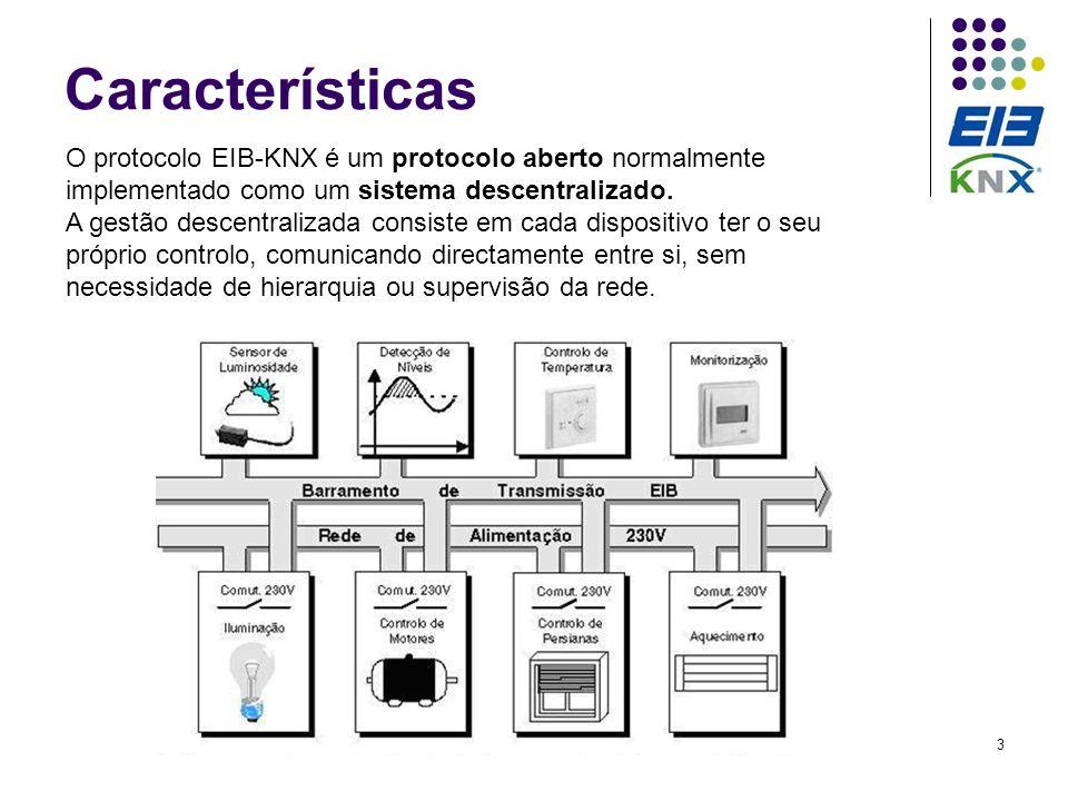 3 Características O protocolo EIB-KNX é um protocolo aberto normalmente implementado como um sistema descentralizado. A gestão descentralizada consist