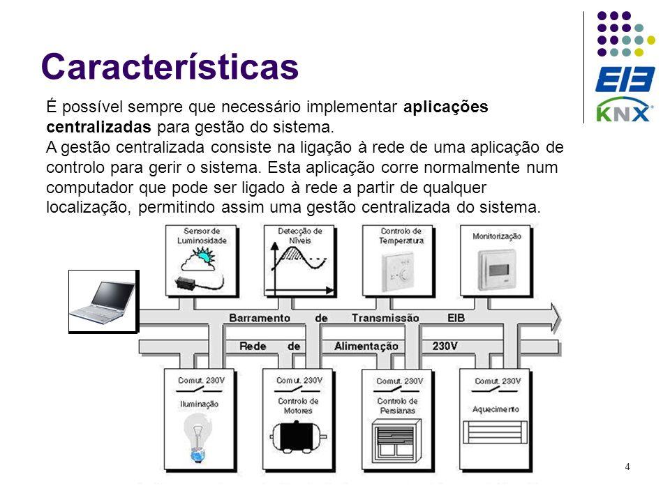 4 Características É possível sempre que necessário implementar aplicações centralizadas para gestão do sistema. A gestão centralizada consiste na liga