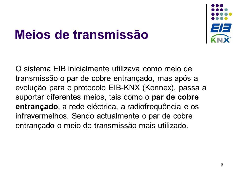 5 Meios de transmissão O sistema EIB inicialmente utilizava como meio de transmissão o par de cobre entrançado, mas após a evolução para o protocolo E