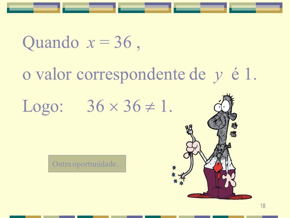 18 Outra oportunidade... Quando x = 36, o valor correspondente de y é 1. Logo: 36 36 1.