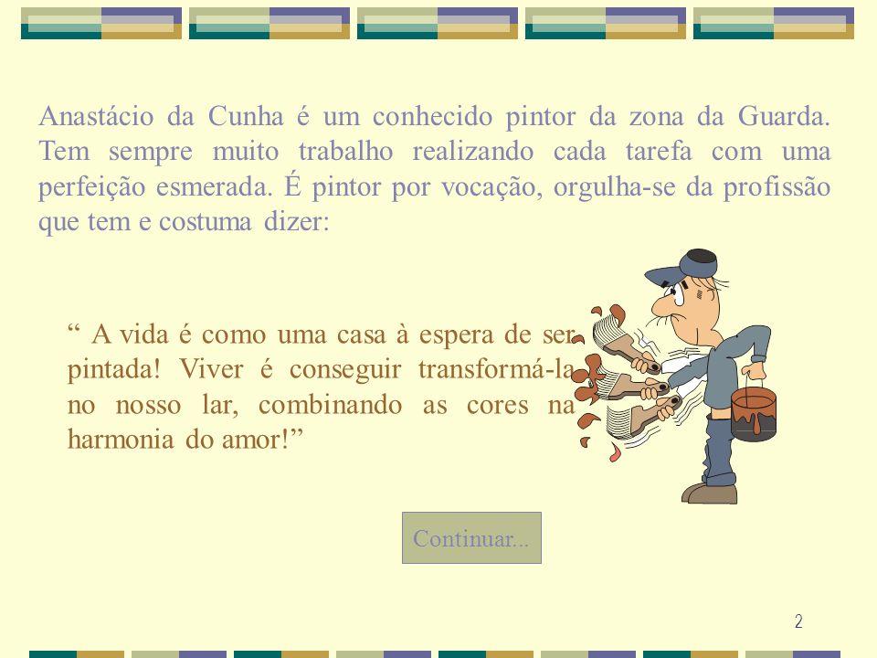 2 Anastácio da Cunha é um conhecido pintor da zona da Guarda. Tem sempre muito trabalho realizando cada tarefa com uma perfeição esmerada. É pintor po