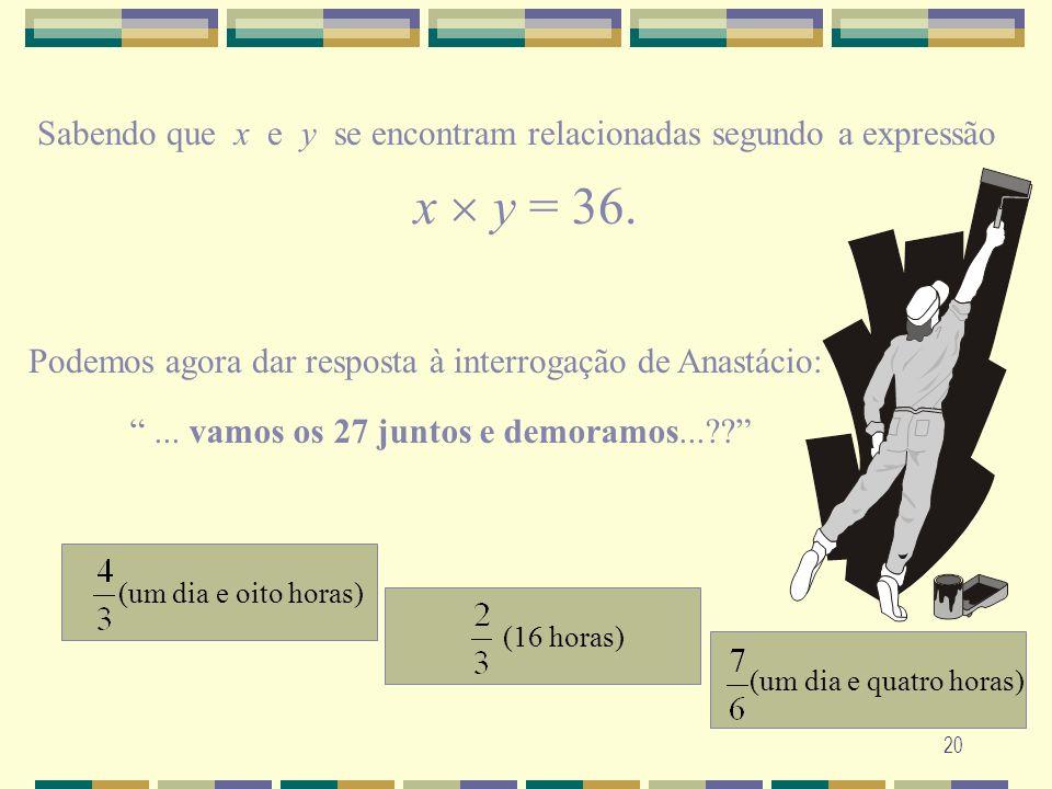 20 Sabendo que x e y se encontram relacionadas segundo a expressão x y = 36. Podemos agora dar resposta à interrogação de Anastácio:... vamos os 27 ju