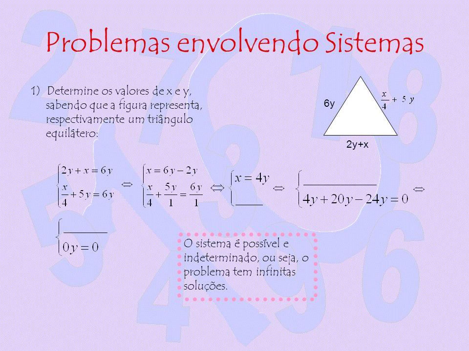 Problemas envolvendo Sistemas 1) Determine os valores de x e y, sabendo que a figura representa, respectivamente um triângulo equilátero: O sistema é