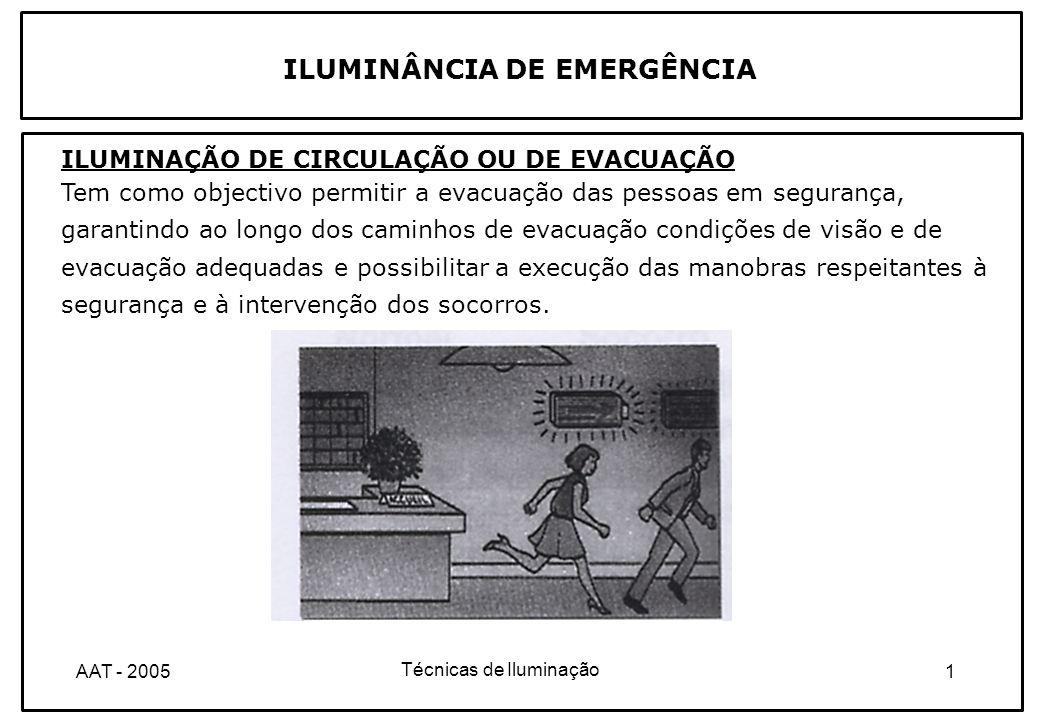 Técnicas de Iluminação 2AAT - 2005 ILUMINÂNCIA DE EMERGÊNCIA ILUMINAÇÃO DE AMBIENTE OU ANTI-PÂNICO Tem como objectivo reduzir o risco de pânico e permitir que as pessoas se dirijam, em segurança, para os caminhos de evacuação, garantindo condições de visão e de orientação adequadas à identificação das direcções de evacuação.