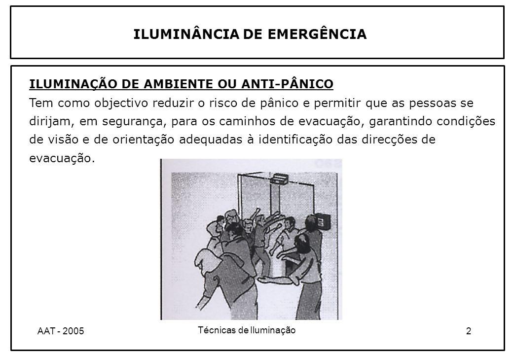 Técnicas de Iluminação 3AAT - 2005 ILUMINAÇÃO DE ÁREAS DE TRABALHO DE ALTO RISCO Deve ser pelo menos igual a 10% da iluminância normal, com um valor superior a 15 lux, segundo a norma europeia EN 1838.