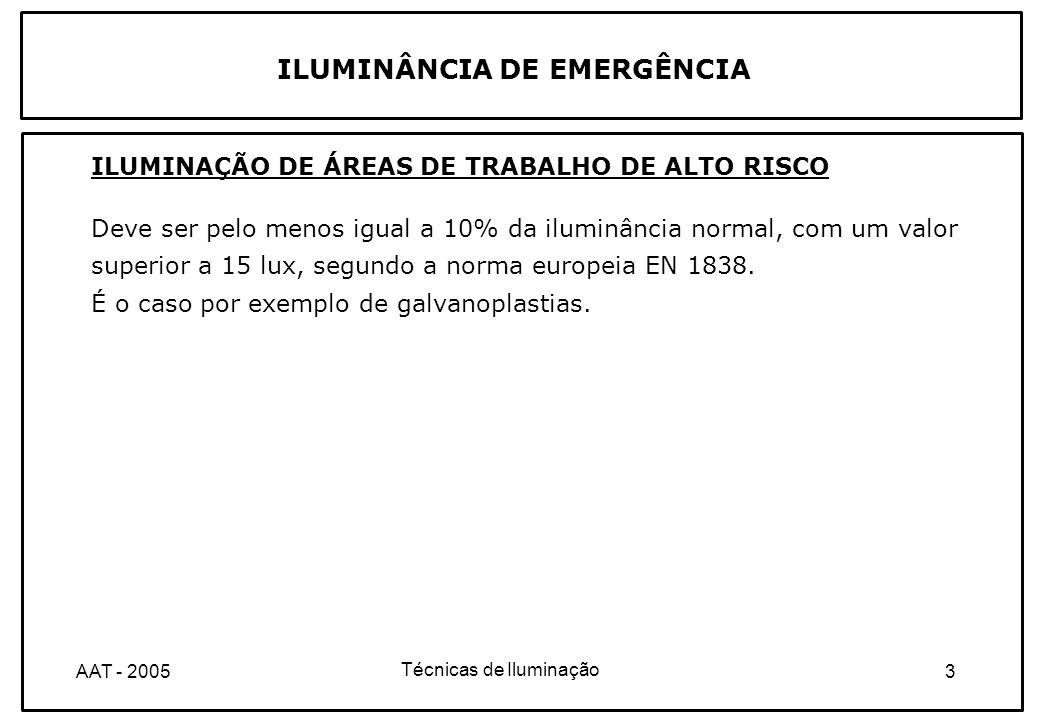 Técnicas de Iluminação 14AAT - 2005 ILUMINAÇÃO DE EMERGÊNCIA ILUMINAÇÃO DE AMBIENTE OU ANTI-PÂNICO As regras para o estabelecimento da iluminação ambiente estão indicadas na norma europeia EN 1838.