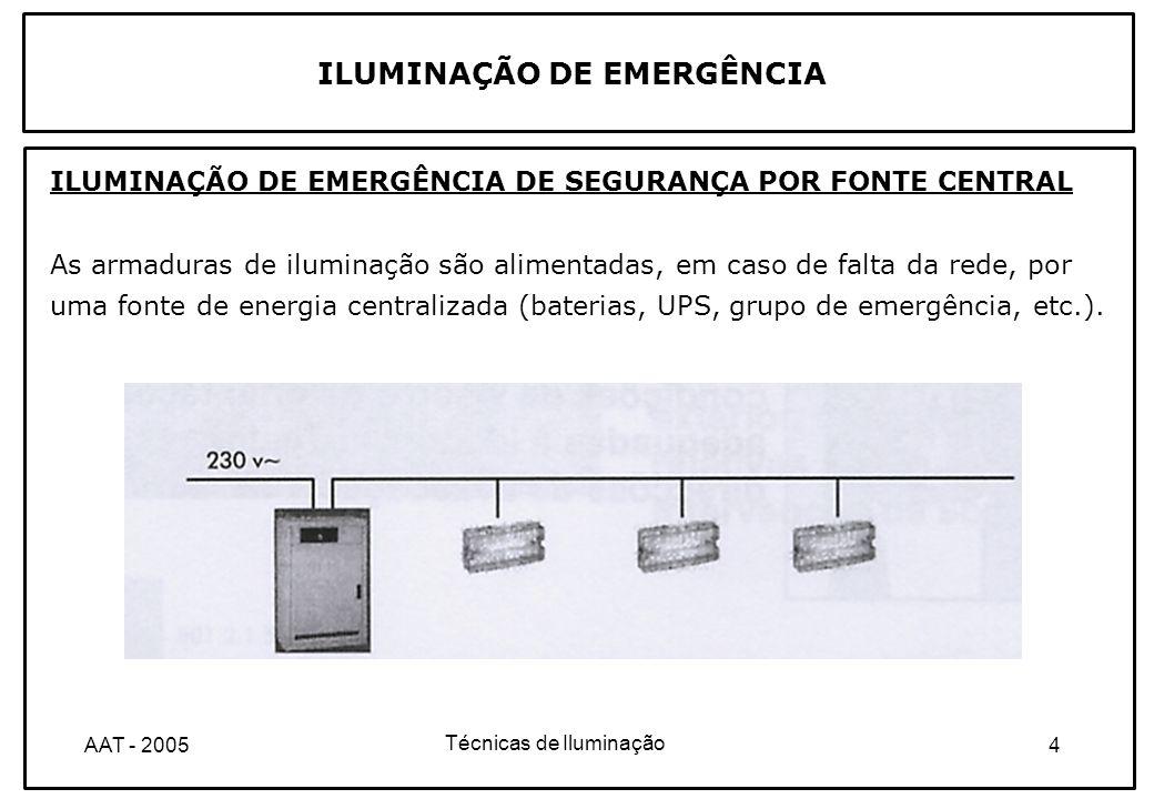 Técnicas de Iluminação 5AAT - 2005 ILUMINAÇÃO DE EMERGÊNCIA BLOCOS AUTÓNOMOS DE ILUMINAÇÃO DE EMERGÊNCIA DE SEGURANÇA Dispõem internamente de uma fonte de energia autónoma (acumuladores recarregáveis) que lhes permite o funcionamento em caso de falha de tensão da rede.