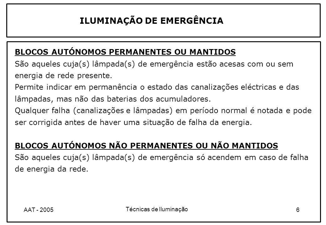 Técnicas de Iluminação 7AAT - 2005 BLOCO AUTÓNOMO NÃO PERMANENTE OU NÃO MANTIDO Funcionamento Rede presente: - lâmpada de emergência apagada; - lâmpadas de sinalização acesas (alimentadas pela rede); Rede ausente:- lâmpadas de emergência acesas (alimentadas pela bateria de acumuladores do bloco); - lâmpadas de sinalização apagadas; ILUMINAÇÃO DE EMERGÊNCIA