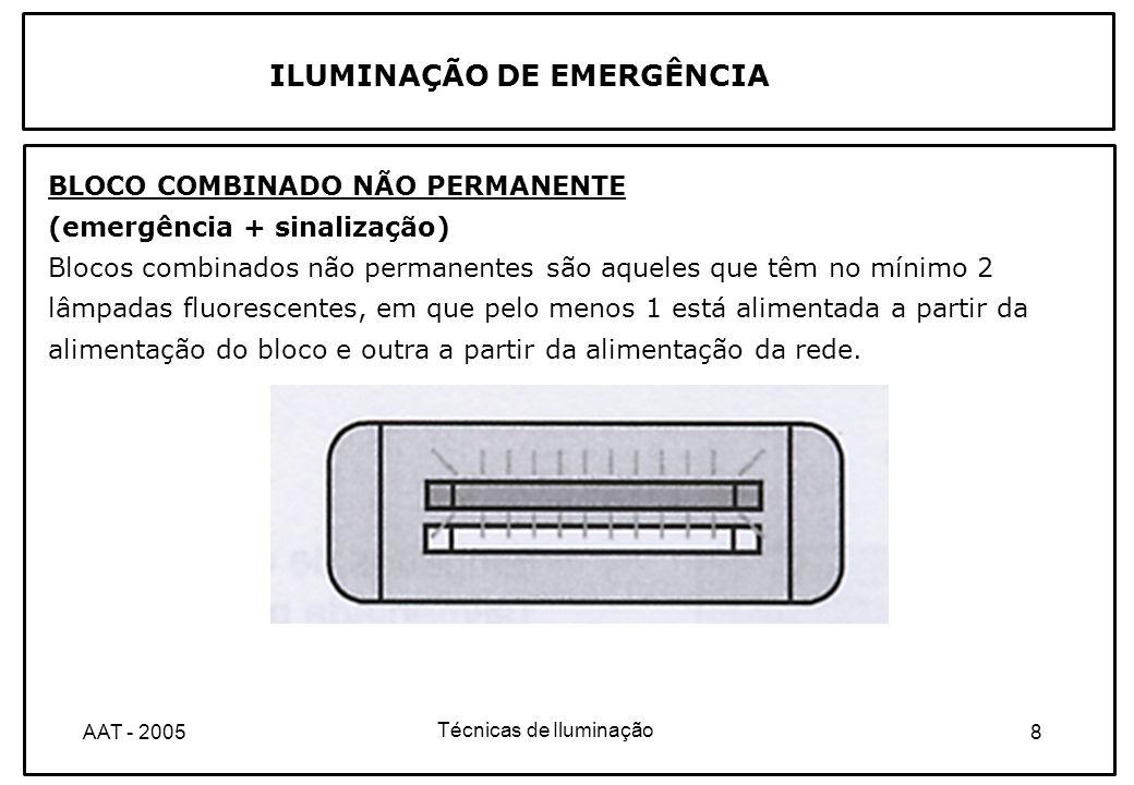 Técnicas de Iluminação 19AAT - 2005 ILUMINAÇÃO DE EMERGÊNCIA ILUMINAÇÃO DE CIRCULAÇÃO OU DE EVACUAÇÃO As indicações atrás mencionadas para a iluminação de ambiente relativas à autonomia mínima, ao factor de uniformidade e ao encandeamento são também válidas para a sinalização de saídas.