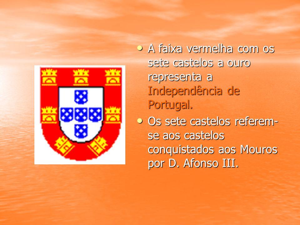A faixa vermelha com os sete castelos a ouro representa a Independência de Portugal. A faixa vermelha com os sete castelos a ouro representa a Indepen