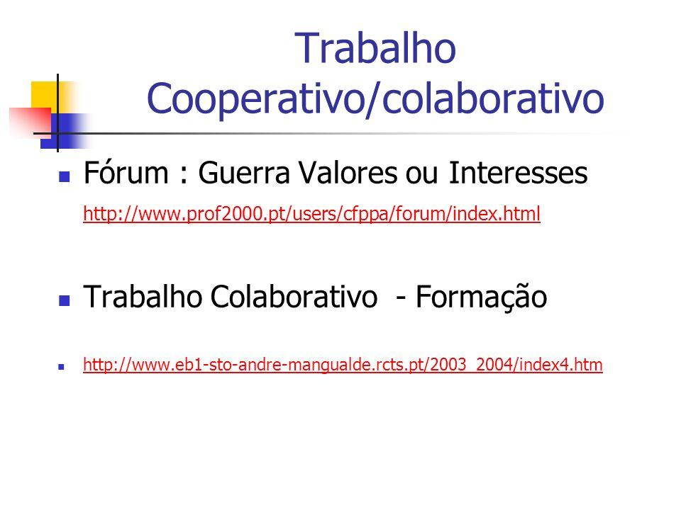 Trabalho Cooperativo/colaborativo Fórum : Guerra Valores ou Interesses http://www.prof2000.pt/users/cfppa/forum/index.html http://www.prof2000.pt/user