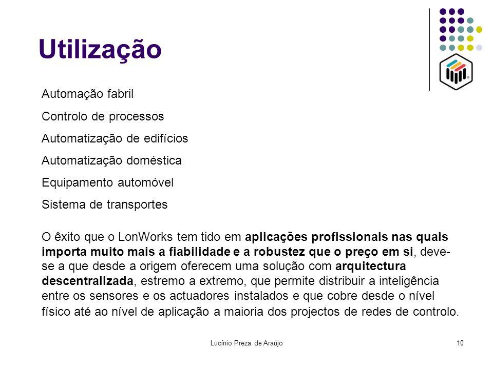 Lucínio Preza de Araújo10 Utilização Automação fabril Controlo de processos Automatização de edifícios Automatização doméstica Equipamento automóvel S