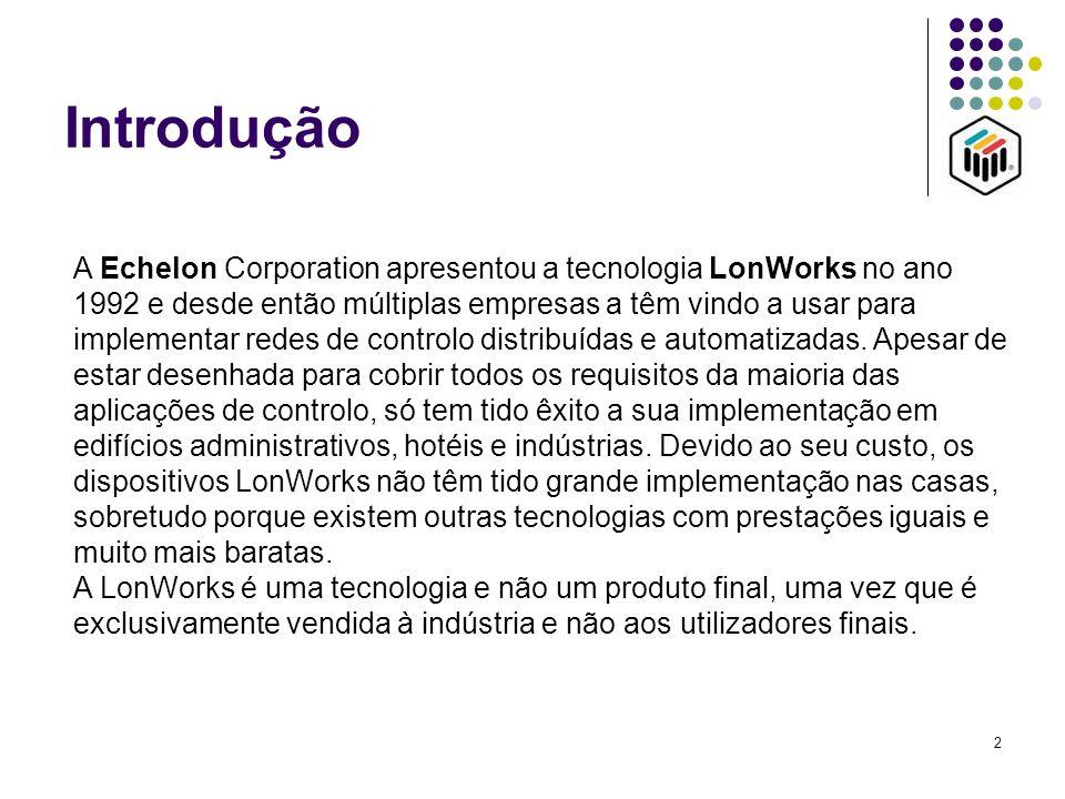2 Introdução A Echelon Corporation apresentou a tecnologia LonWorks no ano 1992 e desde então múltiplas empresas a têm vindo a usar para implementar r