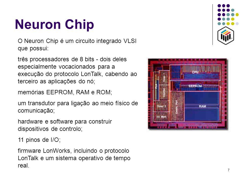 7 Neuron Chip O Neuron Chip é um circuito integrado VLSI que possui: três processadores de 8 bits - dois deles especialmente vocacionados para a execu