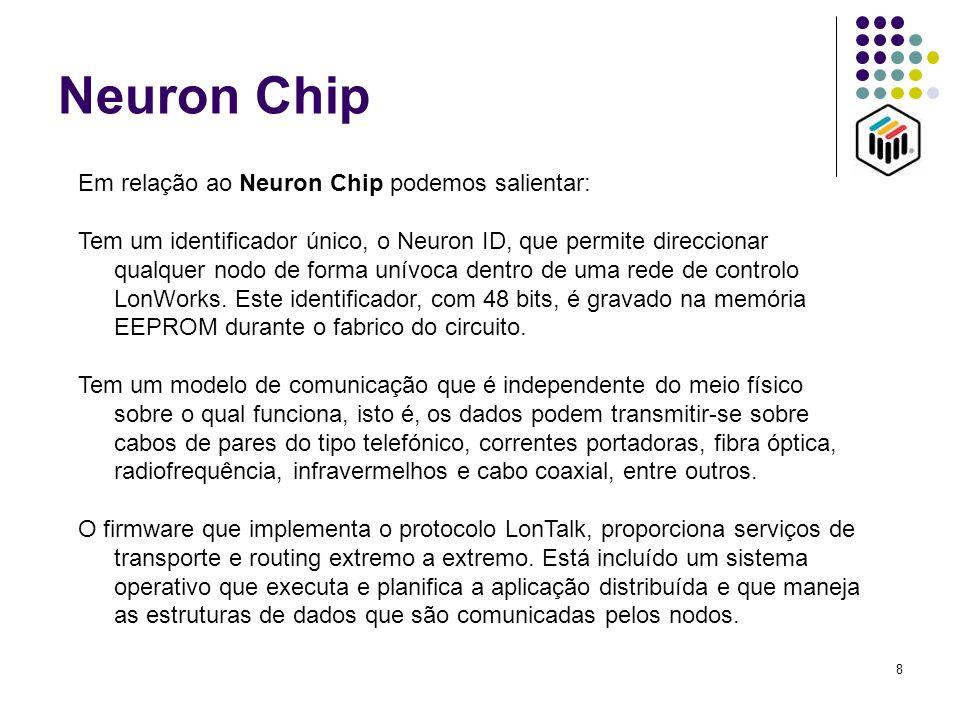 8 Neuron Chip Em relação ao Neuron Chip podemos salientar: Tem um identificador único, o Neuron ID, que permite direccionar qualquer nodo de forma uní