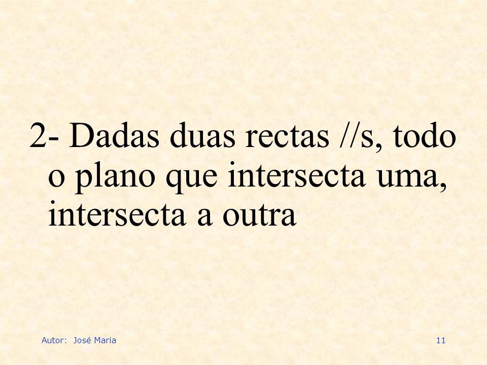 Autor: José Maria11 2- Dadas duas rectas //s, todo o plano que intersecta uma, intersecta a outra