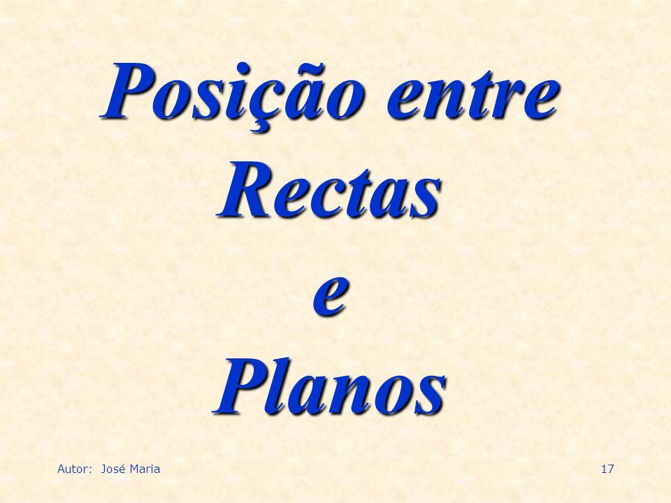 Autor: José Maria17 Posição entre Rectas e Planos