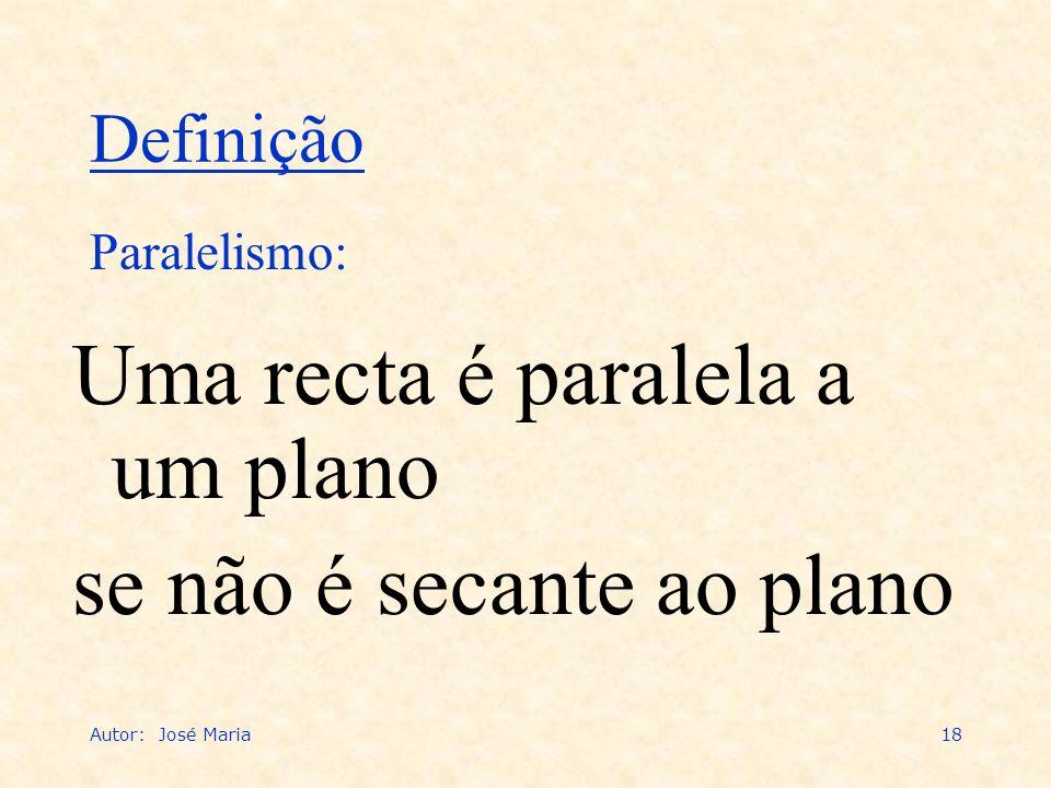 Autor: José Maria18 Uma recta é paralela a um plano se não é secante ao plano Paralelismo: Definição
