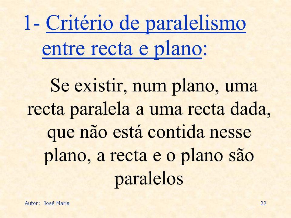 Autor: José Maria22 Se existir, num plano, uma recta paralela a uma recta dada, que não está contida nesse plano, a recta e o plano são paralelos 1- C