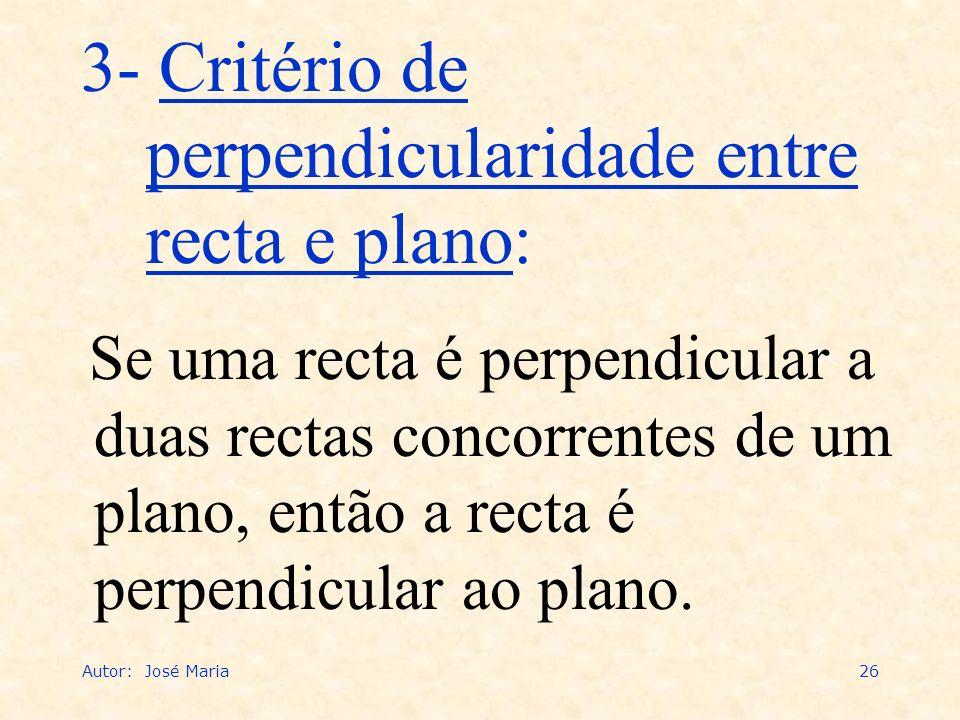 Autor: José Maria26 3- Critério de perpendicularidade entre recta e plano: Se uma recta é perpendicular a duas rectas concorrentes de um plano, então