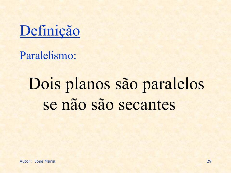 Autor: José Maria29 Dois planos são paralelos se não são secantes Paralelismo: Definição
