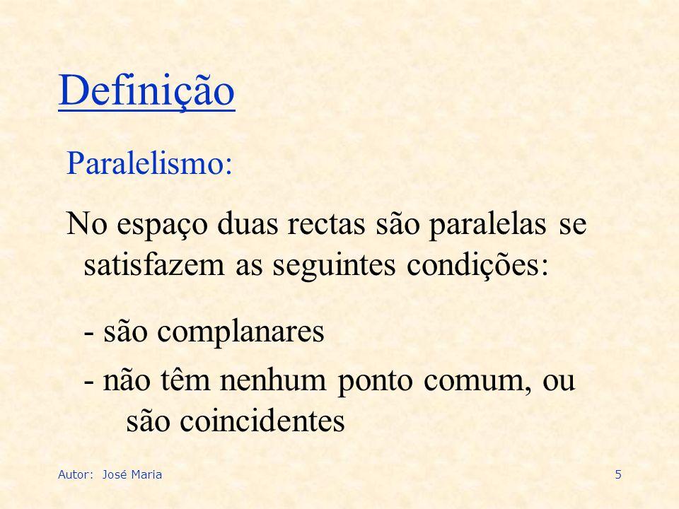Autor: José Maria5 Paralelismo: Definição No espaço duas rectas são paralelas se satisfazem as seguintes condições: - são complanares - não têm nenhum