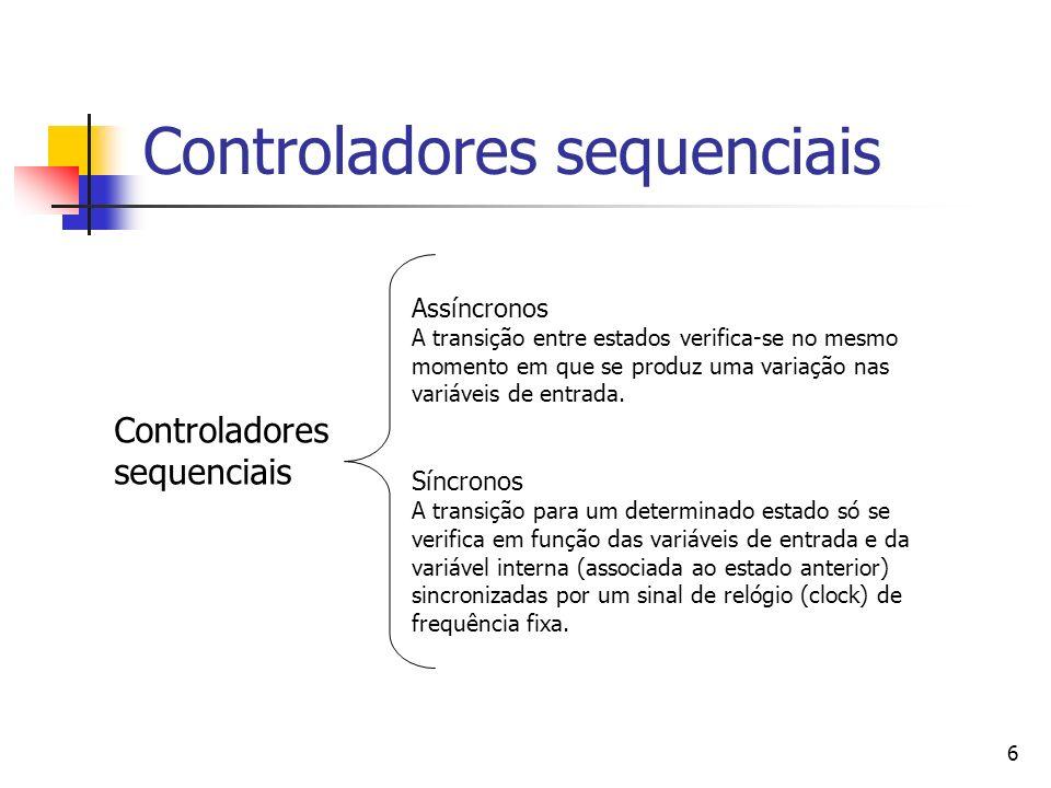 6 Controladores sequenciais Assíncronos A transição entre estados verifica-se no mesmo momento em que se produz uma variação nas variáveis de entrada.