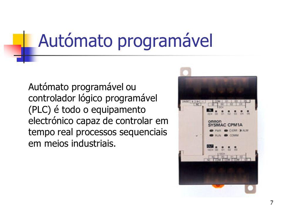 7 Autómato programável Autómato programável ou controlador lógico programável (PLC) é todo o equipamento electrónico capaz de controlar em tempo real