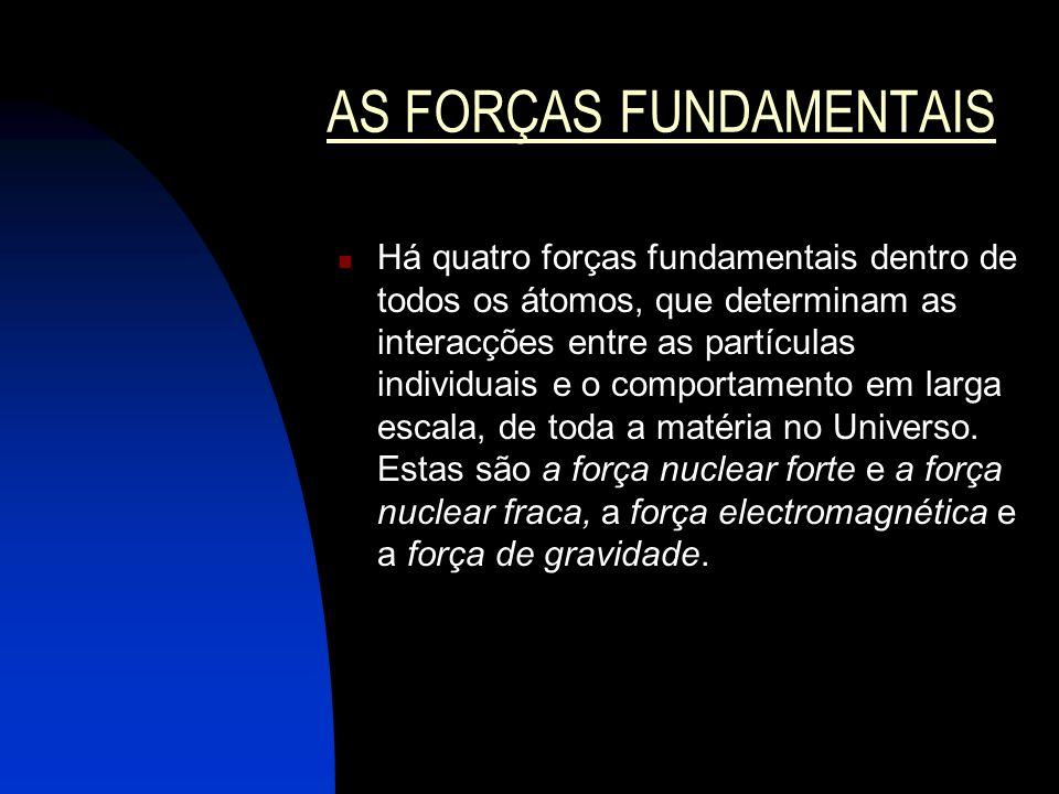 AS FORÇAS FUNDAMENTAIS Há quatro forças fundamentais dentro de todos os átomos, que determinam as interacções entre as partículas individuais e o comp
