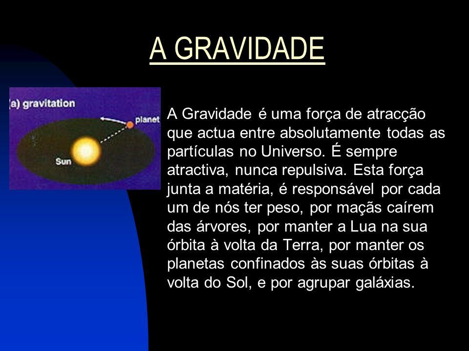A GRAVIDADE A Gravidade é uma força de atracção que actua entre absolutamente todas as partículas no Universo. É sempre atractiva, nunca repulsiva. Es