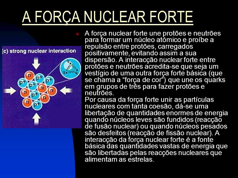 A FORÇA NUCLEAR FRACA A força nuclear fraca causa a degradação radioactiva de certos núcleos atómicos.