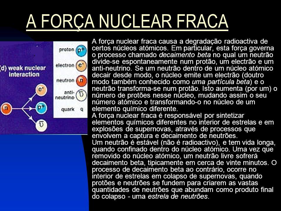 A FORÇA NUCLEAR FRACA A força nuclear fraca causa a degradação radioactiva de certos núcleos atómicos. Em particular, esta força governa o processo ch