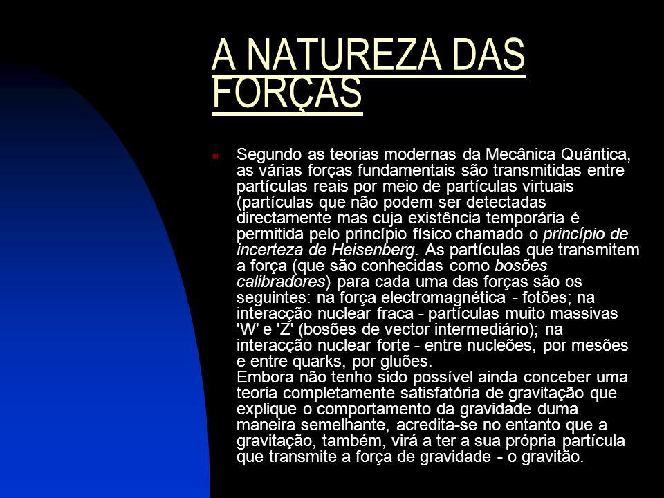 A NATUREZA DAS FORÇAS Segundo as teorias modernas da Mecânica Quântica, as várias forças fundamentais são transmitidas entre partículas reais por meio