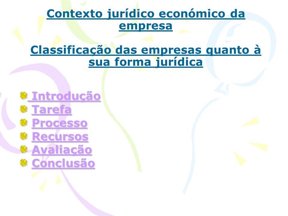 Contexto jurídico económico da empresa Classificação das empresas quanto à sua forma jurídica Introdução Introdução Tarefa TarefaTarefa Processo Proce