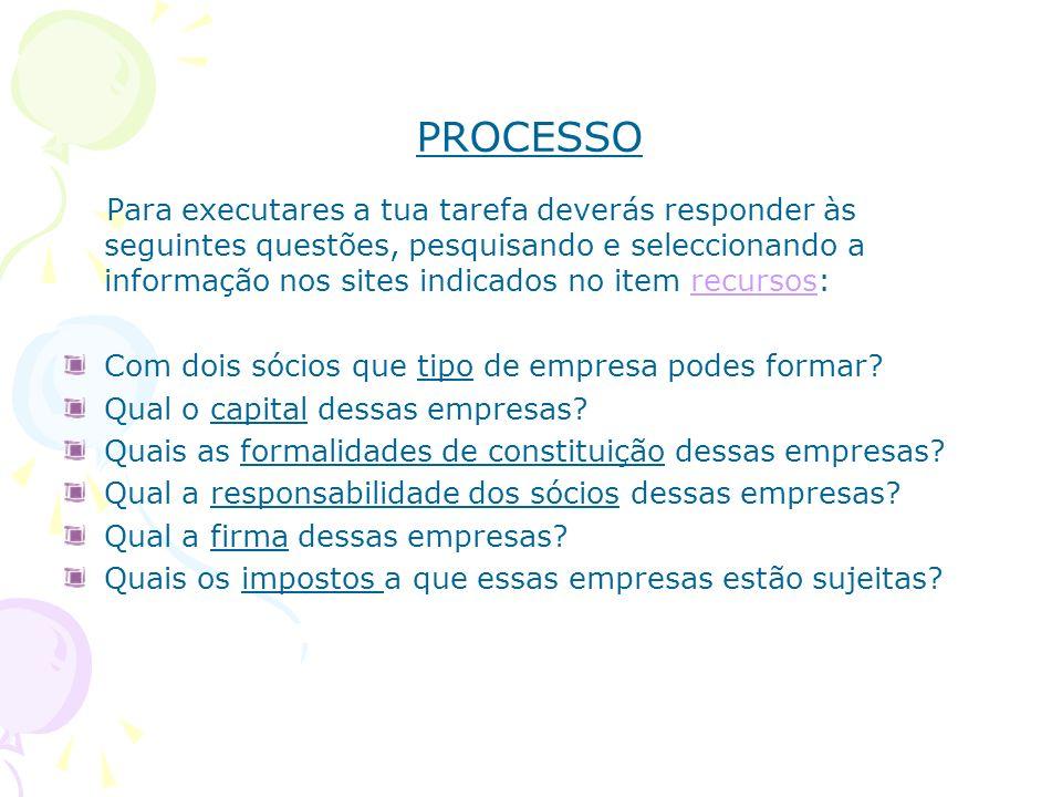 PROCESSO Para executares a tua tarefa deverás responder às seguintes questões, pesquisando e seleccionando a informação nos sites indicados no item re