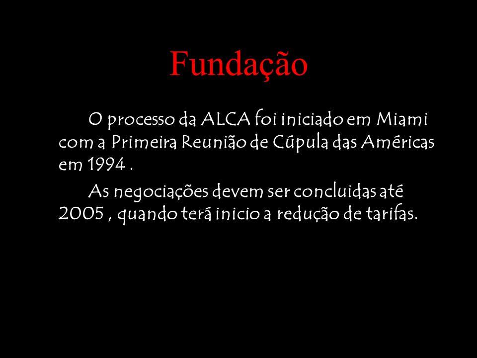 Fundação O processo da ALCA foi iniciado em Miami com a Primeira Reunião de Cúpula das Américas em 1994. As negociações devem ser concluidas até 2005,