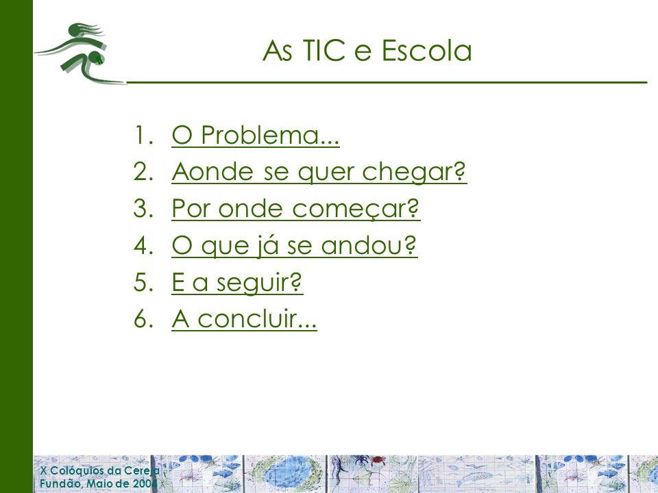 X Colóquios da Cereja Fundão, Maio de 2004 As TIC e Escola 1.O Problema...O Problema...