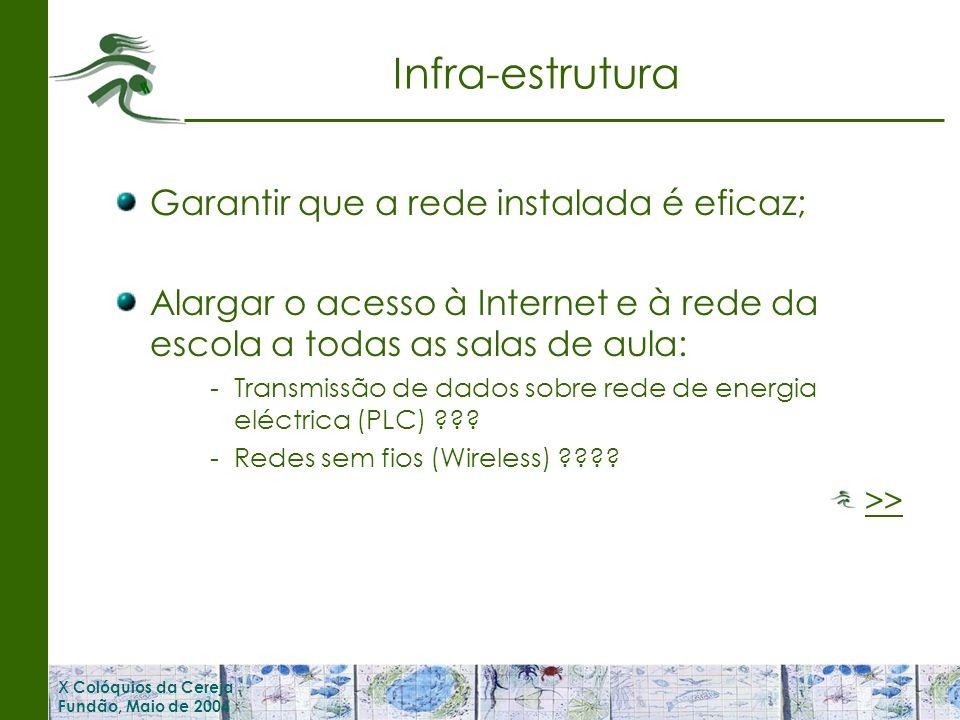 X Colóquios da Cereja Fundão, Maio de 2004 Infra-estrutura Garantir que a rede instalada é eficaz; Alargar o acesso à Internet e à rede da escola a todas as salas de aula: -Transmissão de dados sobre rede de energia eléctrica (PLC) .