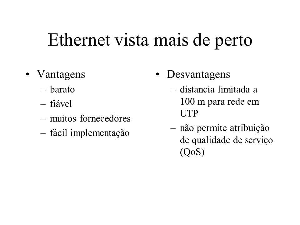 Ethernet vista mais de perto Meios Físicos de transmissão –Cabo Coaxial Fino (10Base2) - 200 m –Cabo Coaxial Grosso (10Base5) - 500 m –Cabo UTP Cat 5 (10/100/1000BaseT) - 100 m –Cabo FO MultiModo (100BaseFX) - 2 Km –Cabo FO MonoModo (100BaseFL) - 10 Km