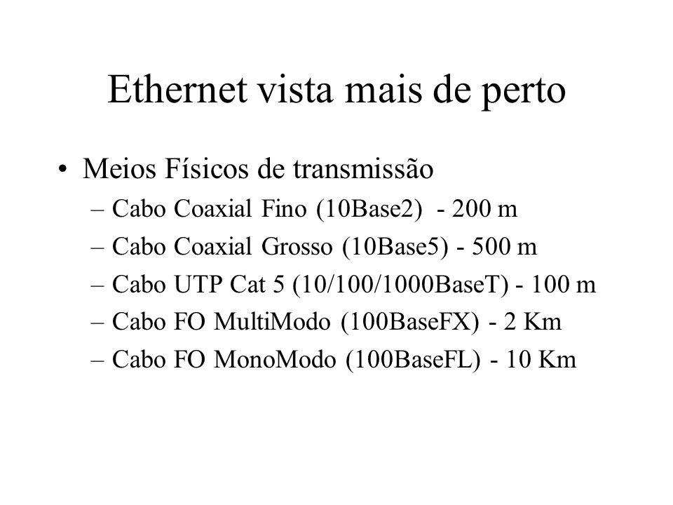 Ethernet vista mais de perto Equipamentos activos –Placas de rede 10, 100 ou 10/100 –Placas de rede Gigabit Ethernet –Hubs 10, 100 ou 10/100 –Switch 10, 100 ou 10/100