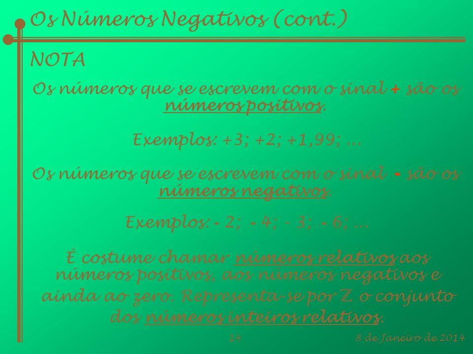 8 de Janeiro de 201414 Os Números Negativos (cont.) NOTA Os números que se escrevem com o sinal + são os números positivos. Exemplos: +3; +2; +1,99;..