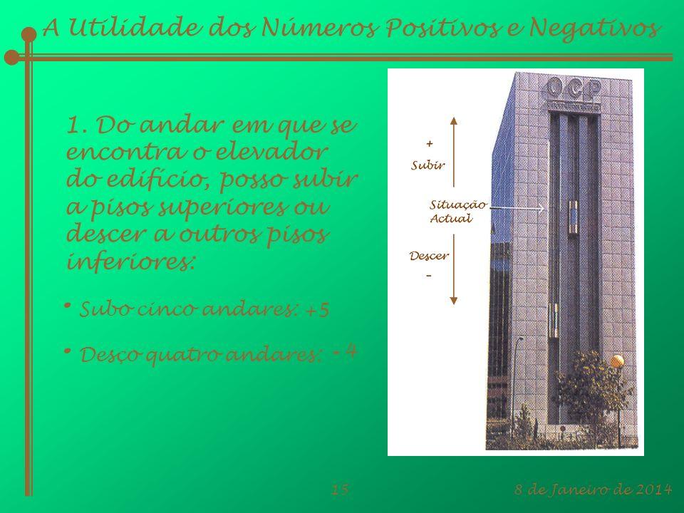 8 de Janeiro de 201415 A Utilidade dos Números Positivos e Negativos 1. Do andar em que se encontra o elevador do edifício, posso subir a pisos superi
