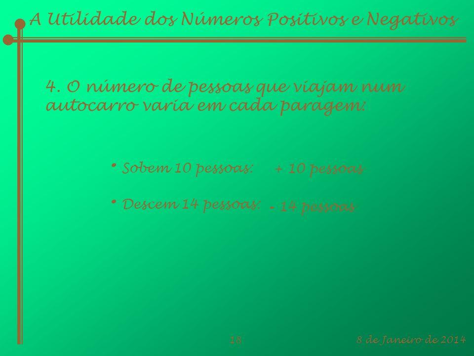 8 de Janeiro de 201418 A Utilidade dos Números Positivos e Negativos 4. O número de pessoas que viajam num autocarro varia em cada paragem: + 10 pesso