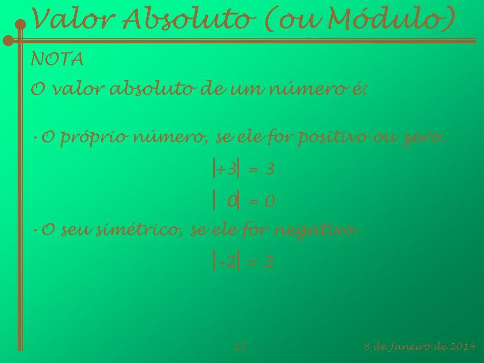 8 de Janeiro de 201427 Valor Absoluto (ou Módulo) NOTA O próprio número, se ele for positivo ou zero. +3 = 3 - 2 = 2 0 = 0 O valor absoluto de um núme