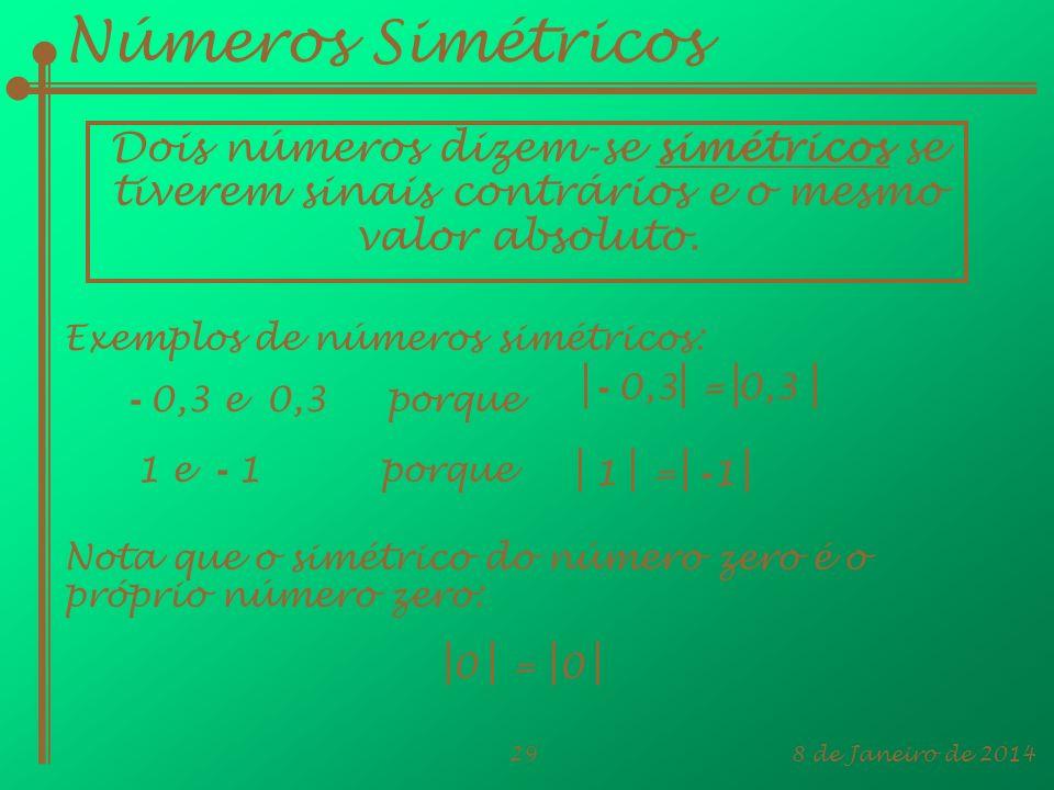 8 de Janeiro de 201429 Números Simétricos Dois números dizem-se simétricos se tiverem sinais contrários e o mesmo valor absoluto. Exemplos de números