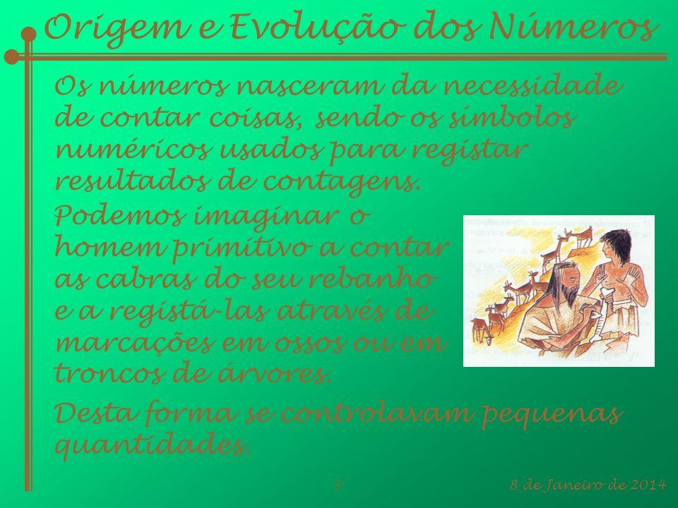 8 de Janeiro de 20143 Origem e Evolução dos Números Os números nasceram da necessidade de contar coisas, sendo os símbolos numéricos usados para regis